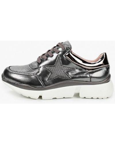 Лаковые серебряные кожаные кроссовки Diora.rim