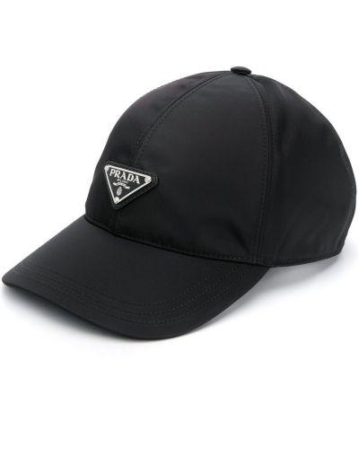 Czarna czapka bawełniana Prada