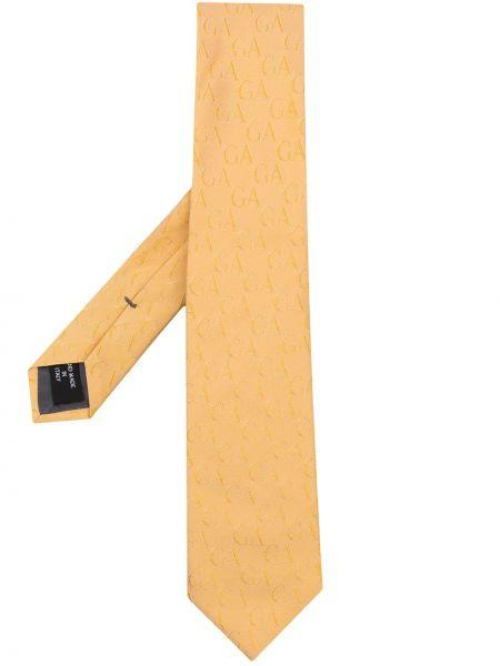 Żółty krawat z jedwabiu z haftem Giorgio Armani