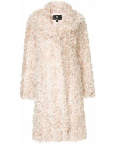 Розовое длинное пальто с капюшоном на крючках Unreal Fur