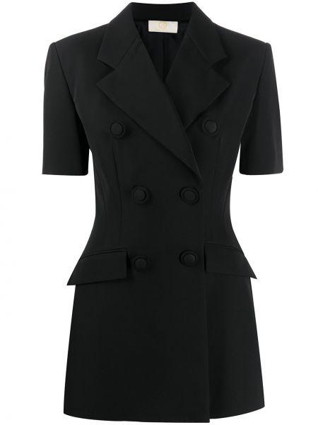 Черный короткая куртка двубортный с короткими рукавами Sara Battaglia