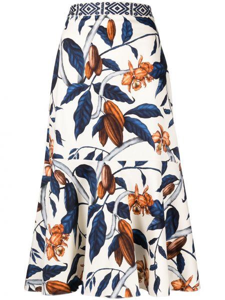 Niebieski bawełna spódnica rozciągać z haftem Johanna Ortiz