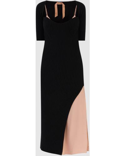 Шерстяное платье миди - черное N°21