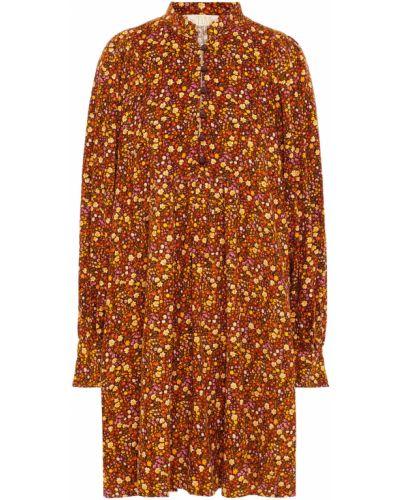 Brązowa sukienka mini z printem Bytimo