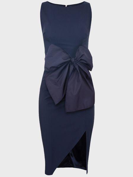 Синее платье с поясом на молнии Elisabetta Franchi