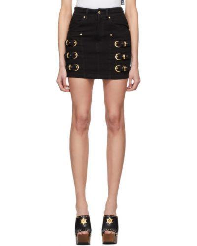 Czarny spódnica mini z kieszeniami na paskach z klamrą Versace Jeans Couture