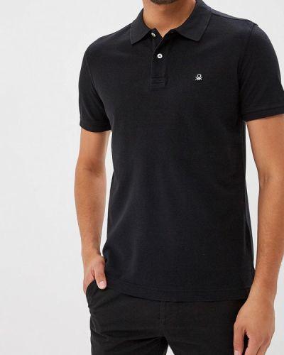 Черное поло с коротким рукавом United Colors Of Benetton
