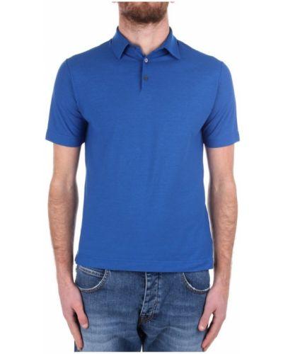 Niebieska koszulka krótki rękaw Zanone