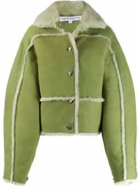 Зеленая кожаная длинная куртка с воротником Saks Potts
