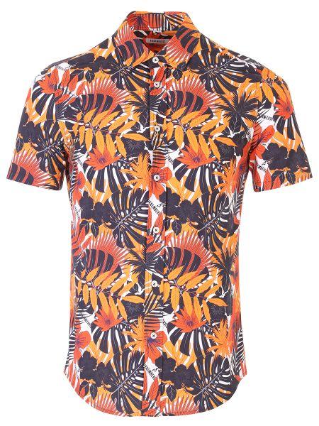 Хлопковая приталенная рубашка с короткими рукавами с воротником на пуговицах Dirk Bikkembergs