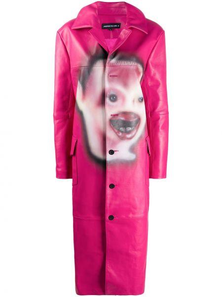 Klasyczny różowy płaszcz skórzany Mowalola