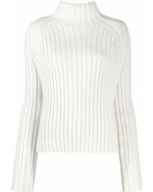 Белый шерстяной вязаный свитер в рубчик Holland & Holland