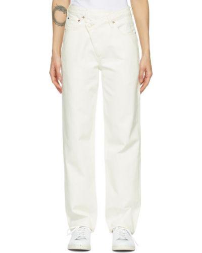 Прямые белые джинсы с карманами Agolde