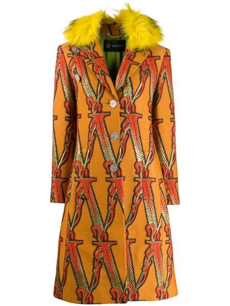 Шерстяное длинное пальто с капюшоном с вышивкой Versace