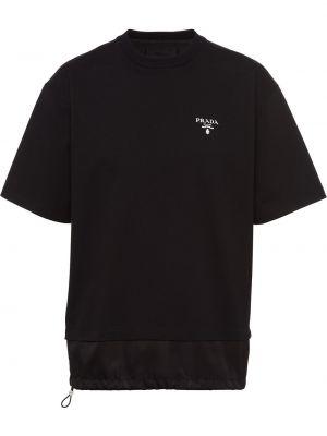 Czarna t-shirt bawełniana krótki rękaw Prada