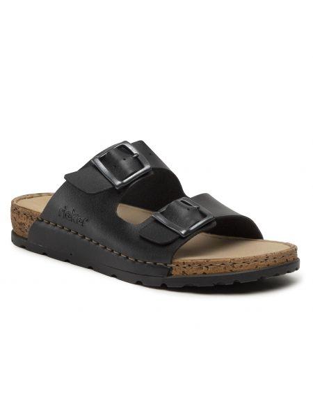 Czarne sandały na lato Rieker