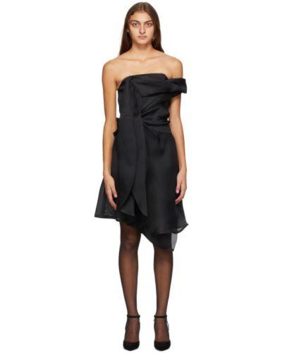 Черное асимметричное шелковое платье без рукавов Nina Ricci