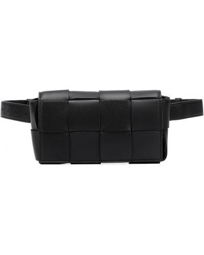 Кожаный черный ремень с поясом Bottega Veneta