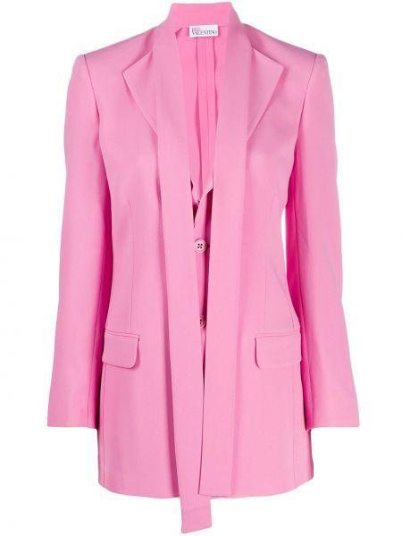 Розовый приталенный удлиненный пиджак с карманами Redvalentino