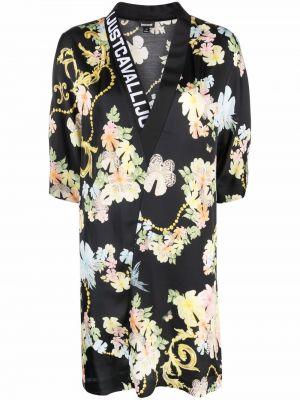 Платье мини в цветочный принт - черное Just Cavalli