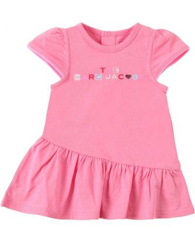 Трикотажное розовое платье с вышивкой Little Marc Jacobs