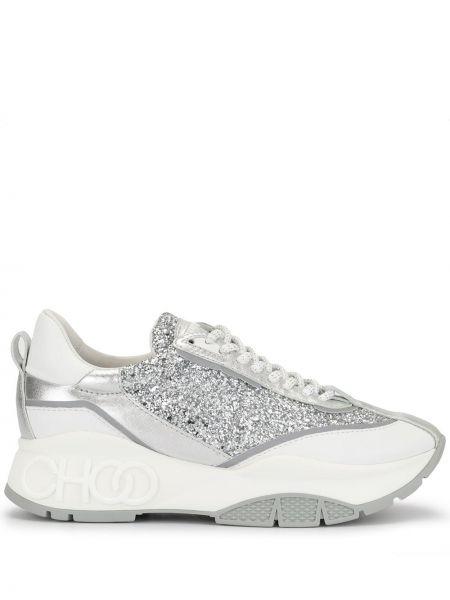 Кожаные кроссовки с глиттером белый Jimmy Choo