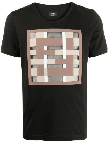Koszula krótkie z krótkim rękawem z nadrukiem czarna Fendi