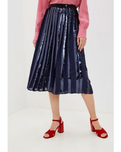 Плиссированная юбка джинсовая синяя Trussardi Jeans