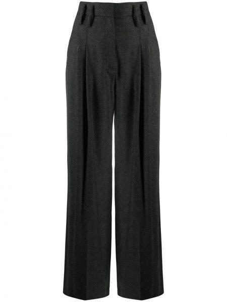 Spodnie z wysokim stanem wełniane z paskiem Racil