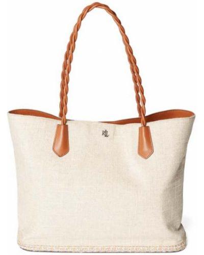 Beżowa torba na ramię bawełniana w paski Lauren Ralph Lauren