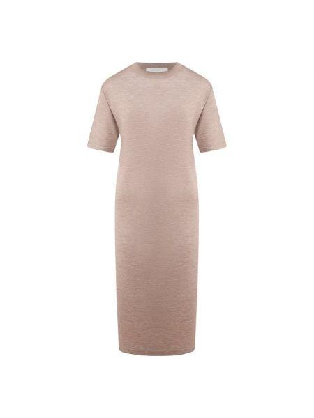 Бежевое шелковое платье Cruciani