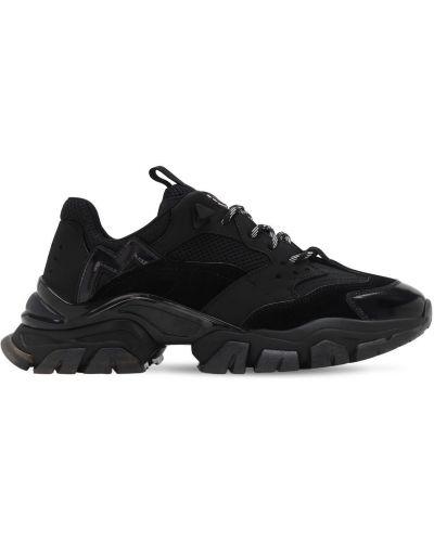 Koronkowa czarny skórzane sneakersy z prawdziwej skóry na sznurowadłach Moncler