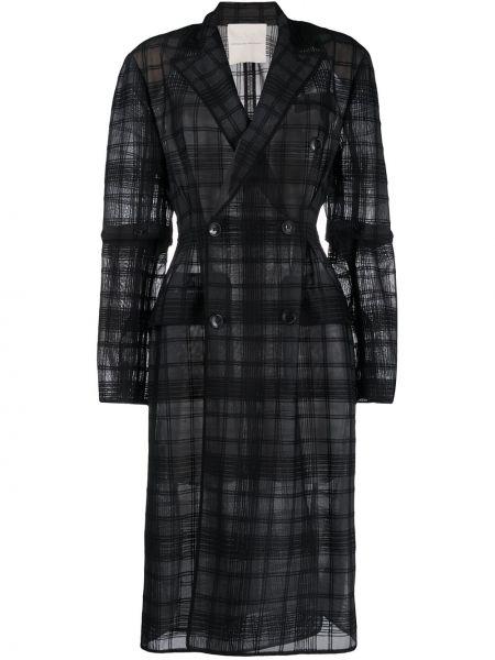 Пальто в клетку - черное Marco De Vincenzo