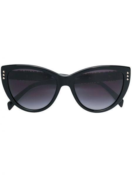 Золотистые прямые черные солнцезащитные очки с заклепками Moschino Eyewear