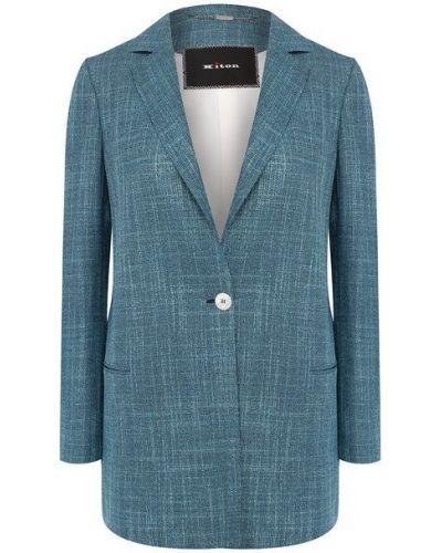 Шерстяной синий пиджак с подкладкой с лацканами Kiton
