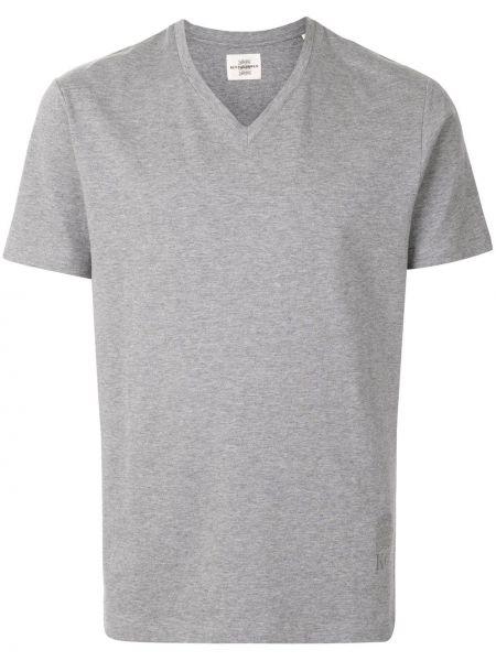 Серая прямая приталенная футболка с V-образным вырезом Kent & Curwen
