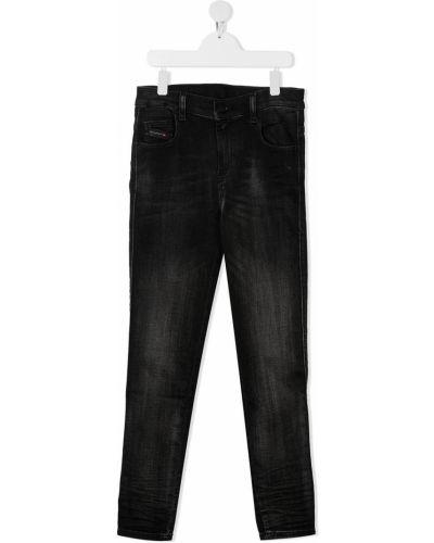 Bawełna skórzany czarny jeansy na wysokości z kieszeniami Diesel Kids