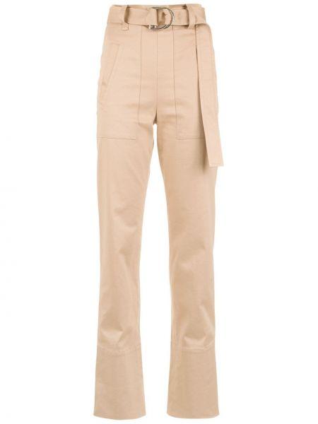 Коричневые расклешенные брюки с поясом с высокой посадкой Gloria Coelho