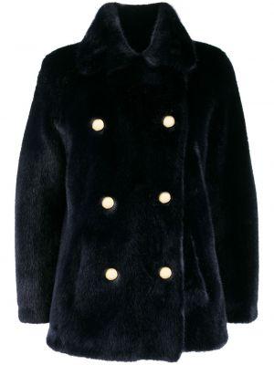 Акриловое синее пальто с воротником двубортное La Seine & Moi