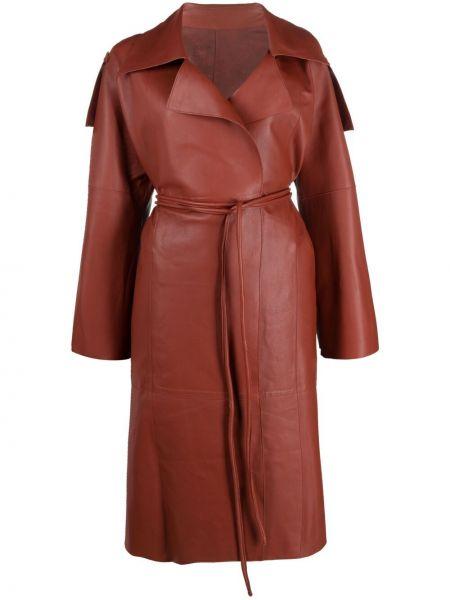 Красное кожаное пальто классическое с поясом S.w.o.r.d 6.6.44