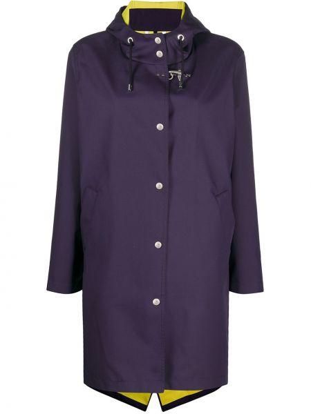Прямой синий длинное пальто с капюшоном Fay