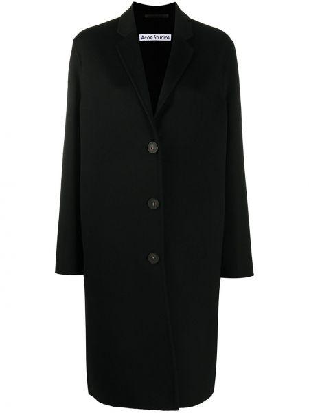 Черное однобортное шерстяное пальто на пуговицах Acne Studios