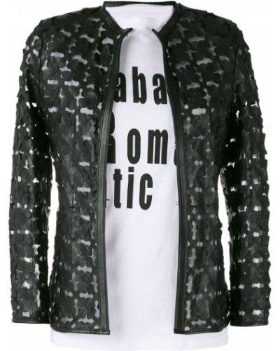 Кожаная куртка черная с цветочным принтом Caban Romantic