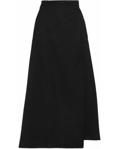 Сатиновая черная юбка миди с карманами Amanda Wakeley