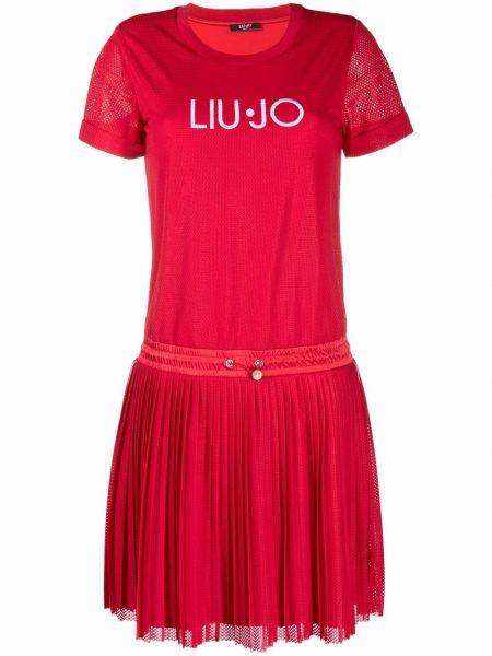 Хлопковое плиссированное красное платье-рубашка Liu Jo