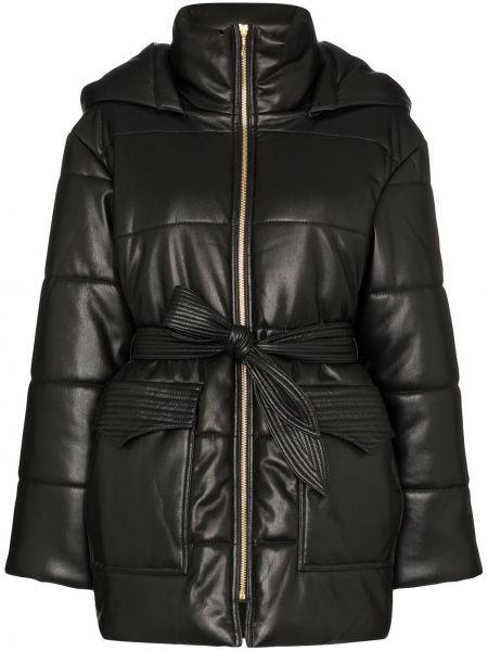 Кожаная куртка с капюшоном черная Nanushka