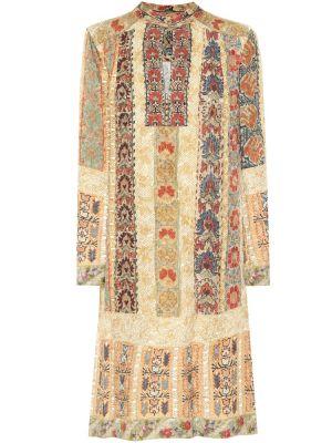 Бежевое шелковое платье миди Etro