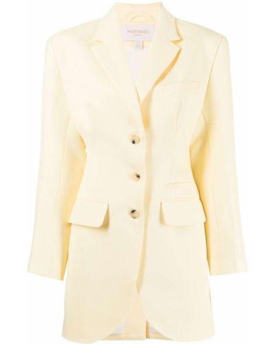 Желтый однобортный удлиненный пиджак с карманами Matériel