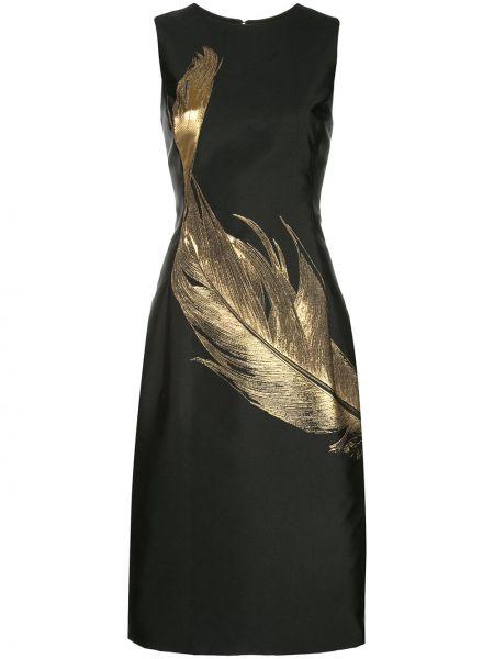 Черное приталенное платье без рукавов с вырезом Oscar De La Renta
