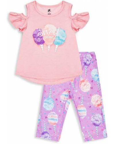Różowa piżama bawełniana z printem Petit Lem
